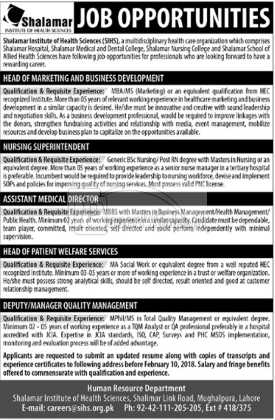 Shalamar Institute of Health Sciences SIHS Lahore Jobs 2018