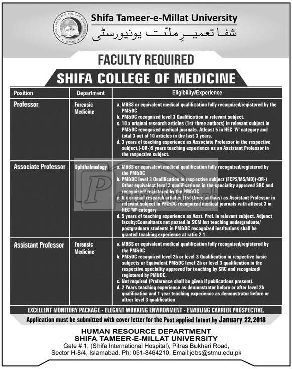 Shifa Tameer-e-Millat University Islamabad Jobs 2018