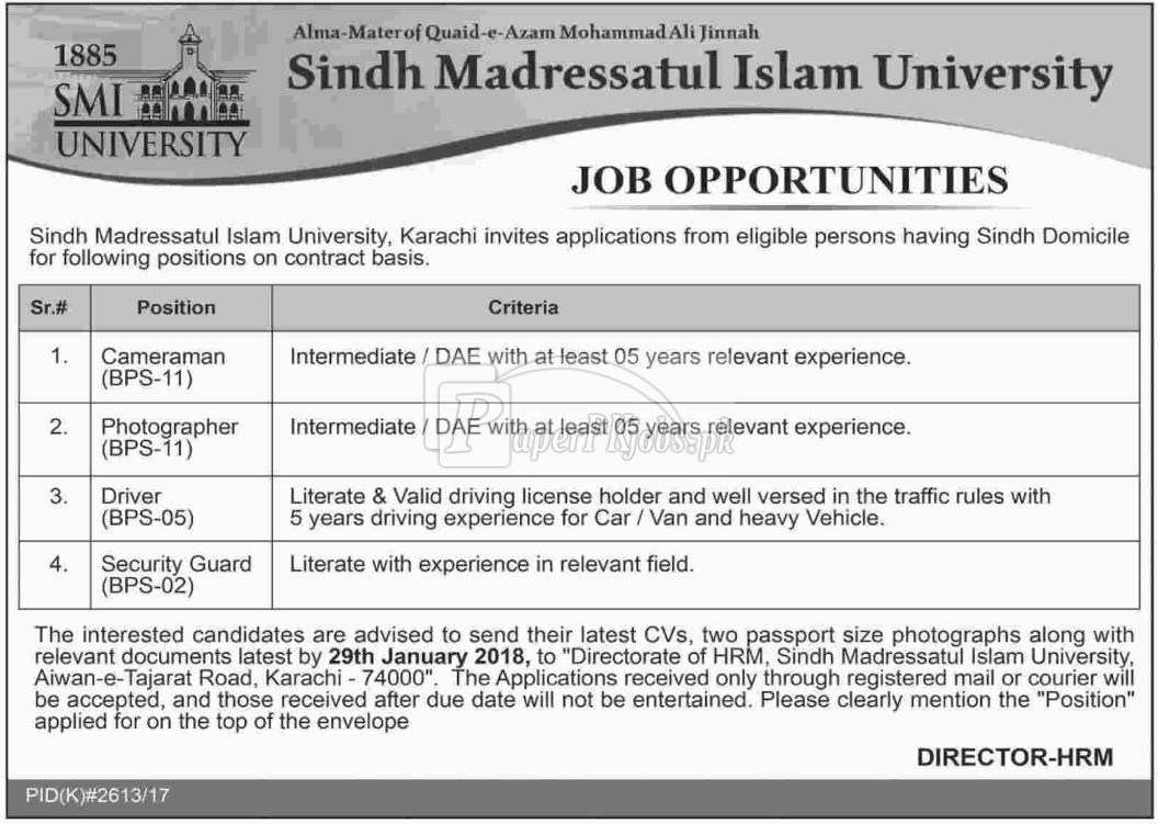 Sindh Madressatul Islam University Karachi Jobs 2018