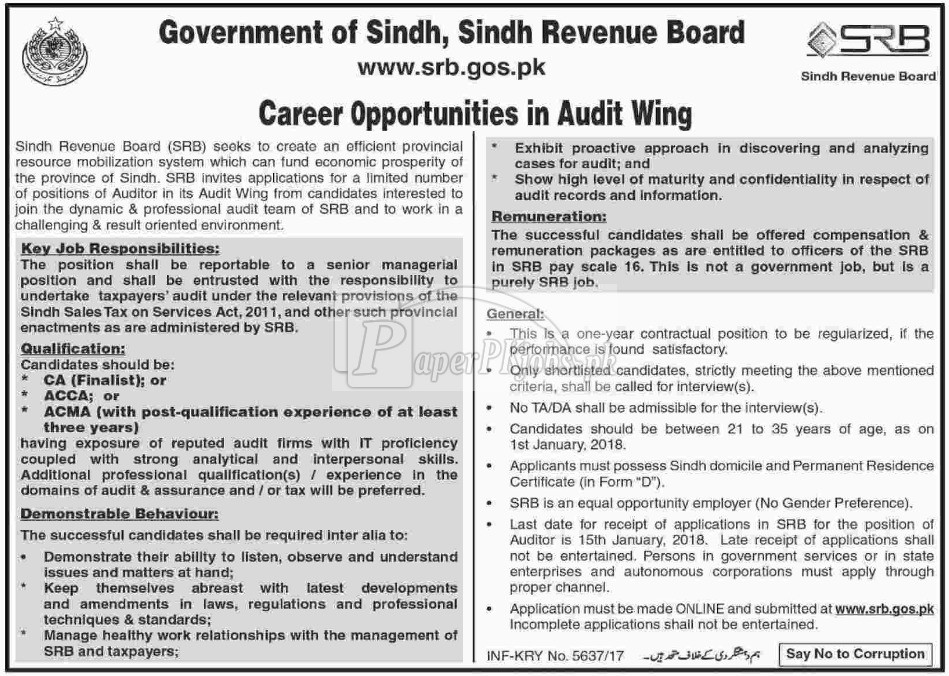 Sindh Revenue Board Government of Sindh Jobs 2018
