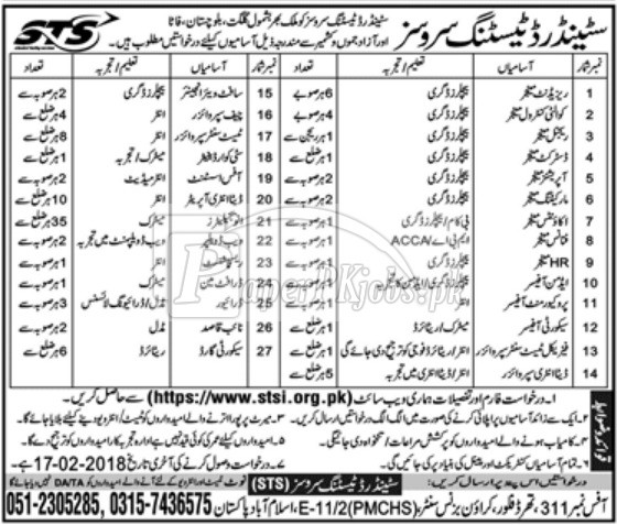 Standard Testing Services STS Jobs 2018