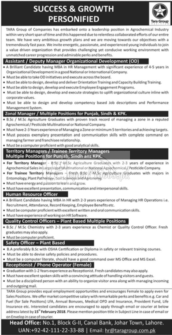 Tara Group of Companies Jobs 2018