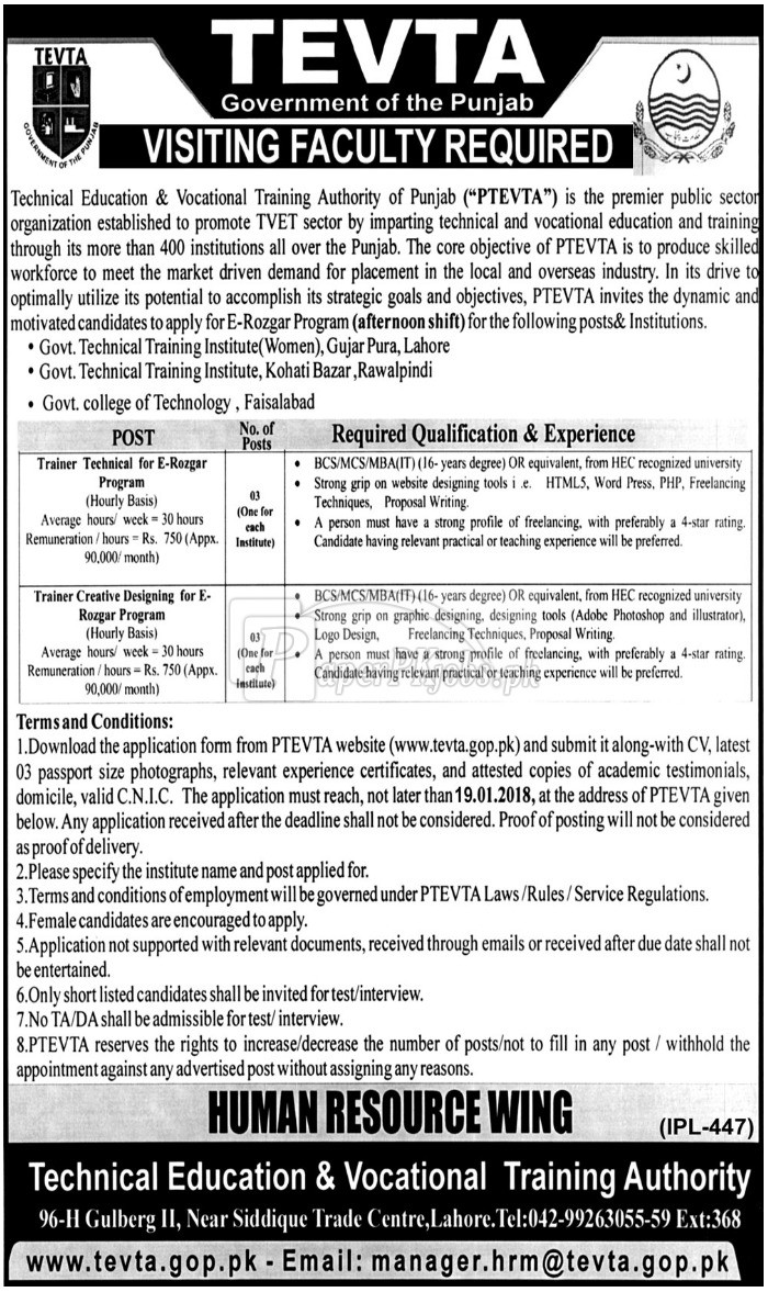 Technical Education & Vocational Training Authority of Punjab PTEVTA Jobs 2018