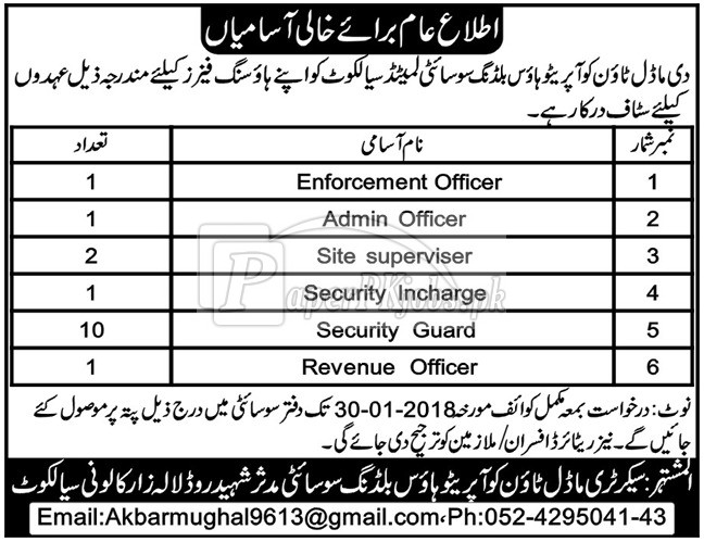 The Model Town Cooperative House Building Society Ltd Sialkot Jobs 2018