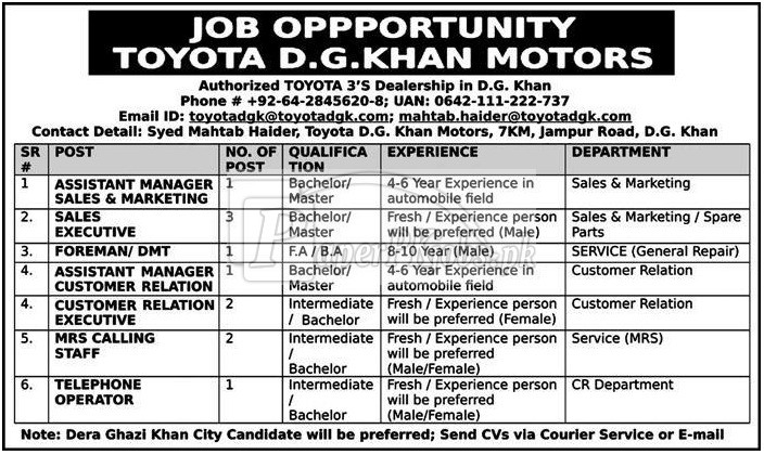 Toyota Motors D.G.Khan Jobs 2018
