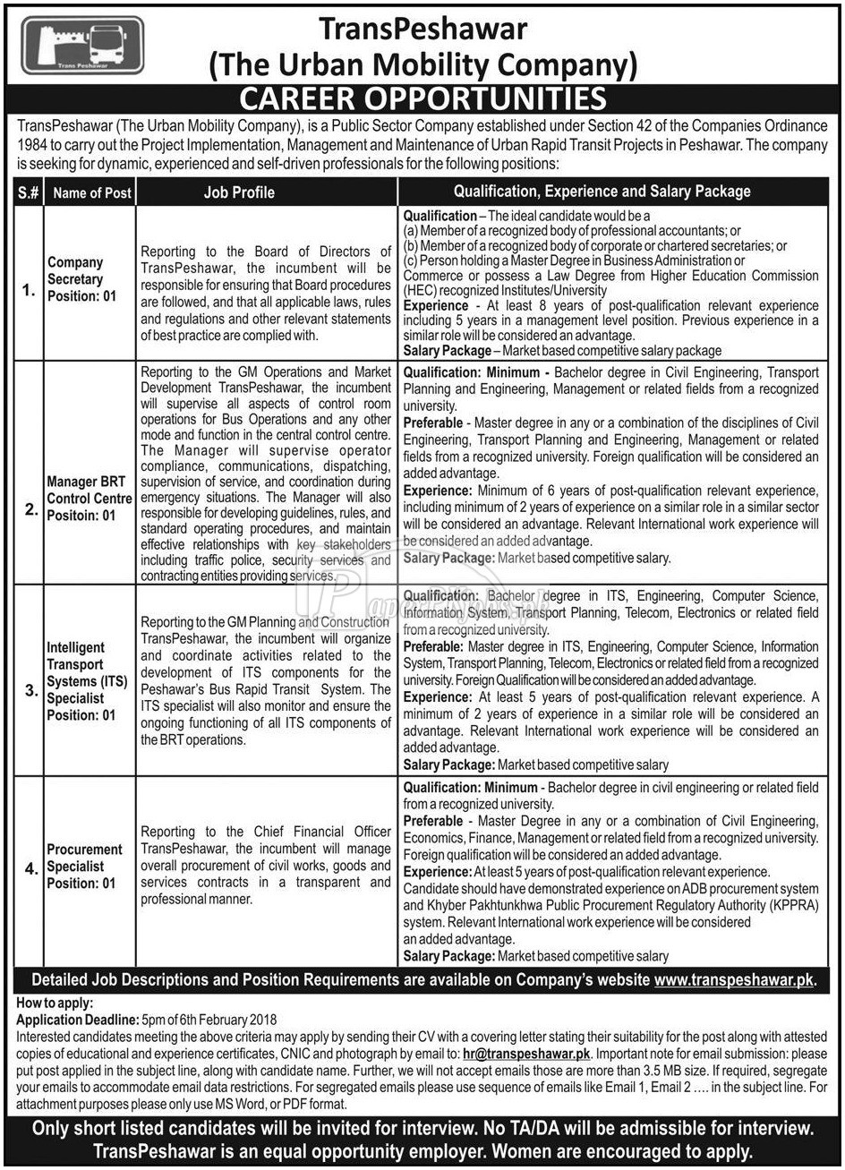 TransPeshawar The Urban Mobility Company Jobs 2018