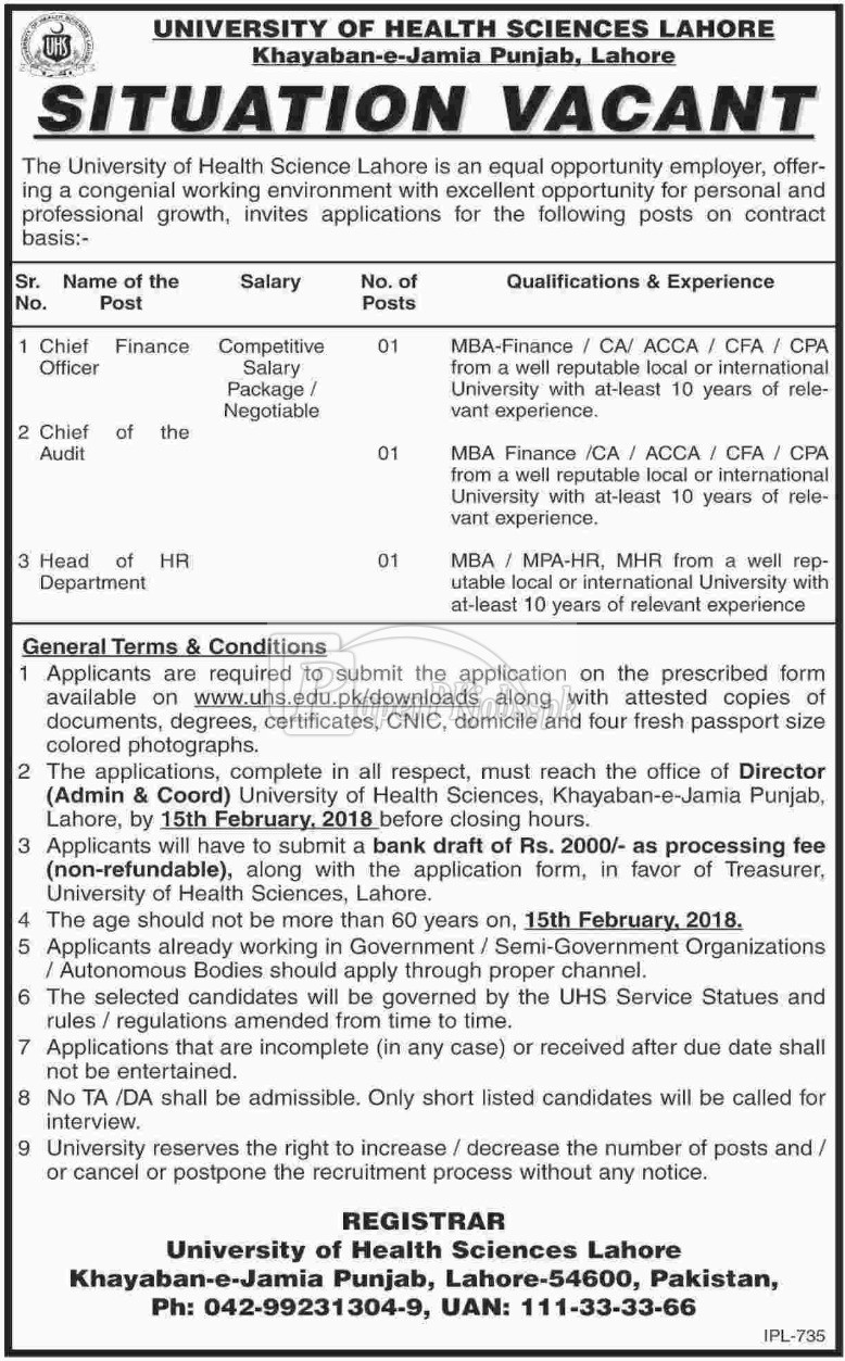 University of Health Sciences UHS Lahore Jobs 2018