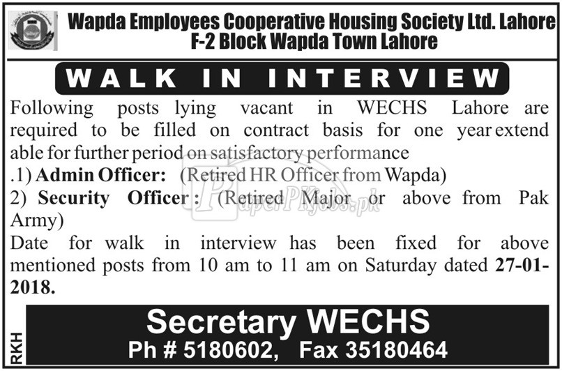 Wapda Employees Cooperative Housing Society Ltd. Lahore Jobs 2018