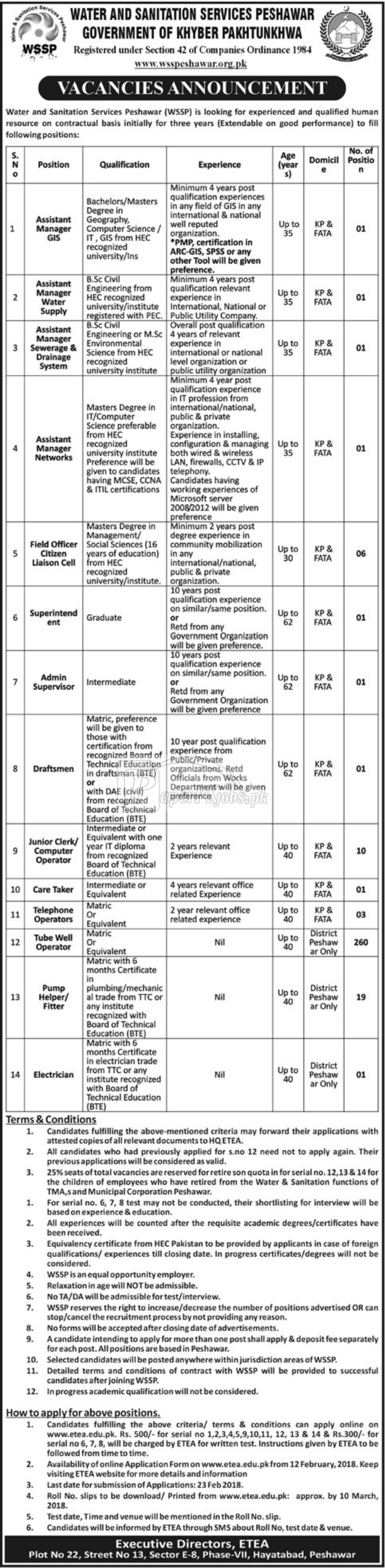 Water & Sanitation Services Peshawar WSSP ETEA Jobs 2018