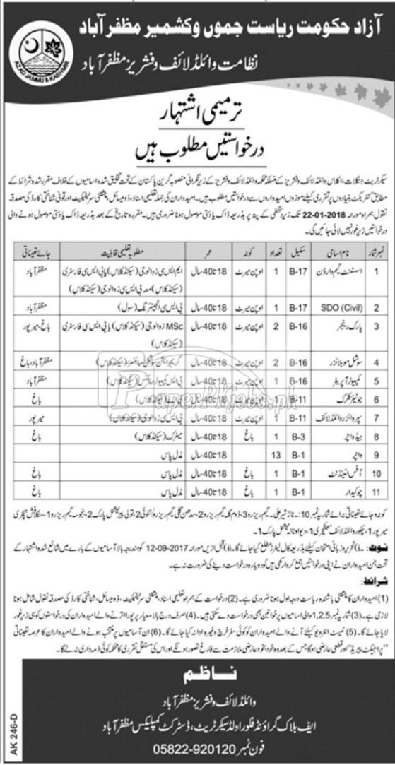 Wildlife & Fisheries Department AJK Jobs 2018