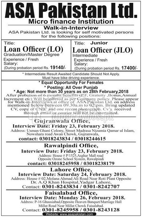 ASA Pakistan Ltd. Microfinance Institution Jobs 2018
