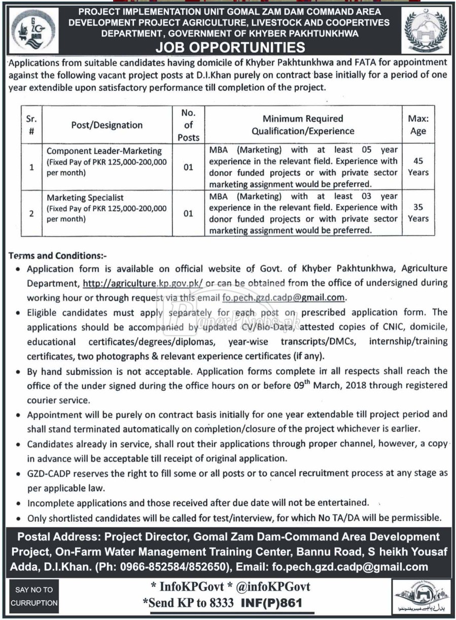 Agriculture Livestock & Cooperatives Department KPK Jobs 2018