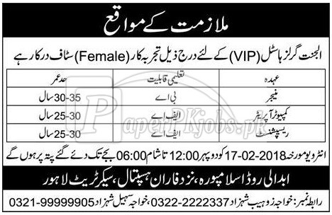 Aljannat Girls Hostel Lahore Jobs 2018