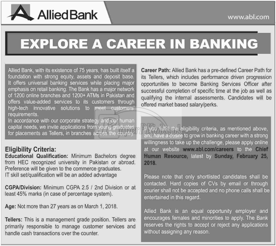 Allied Bank Limited ABL Jobs 2018