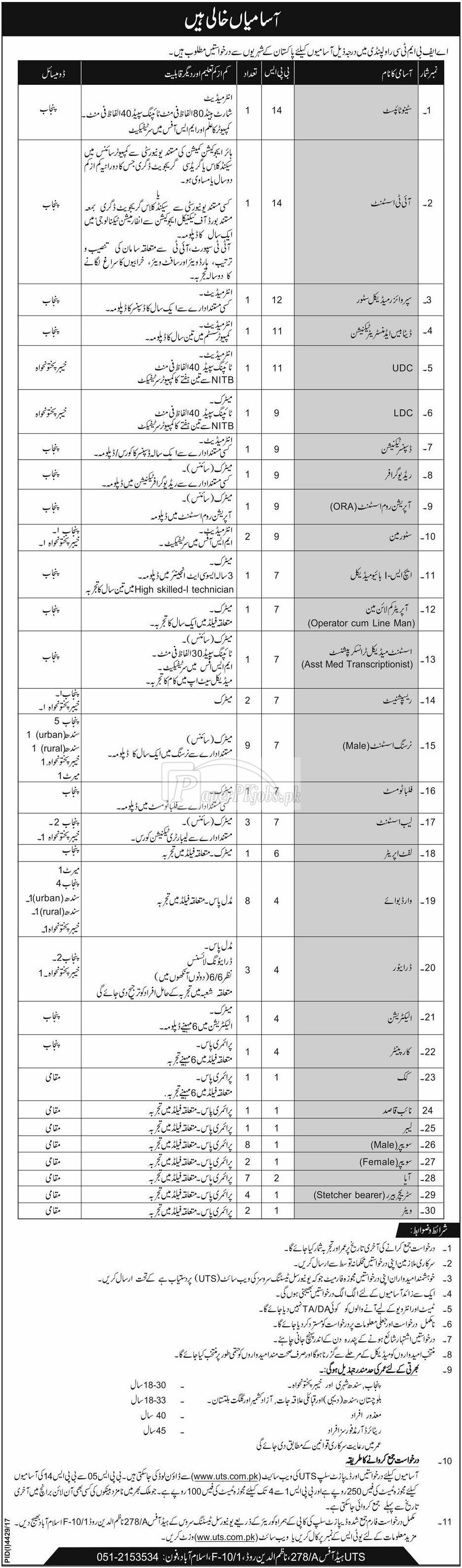 Armed Forces Bone Marrow Transplant Centre AFBMTC Jobs 2018