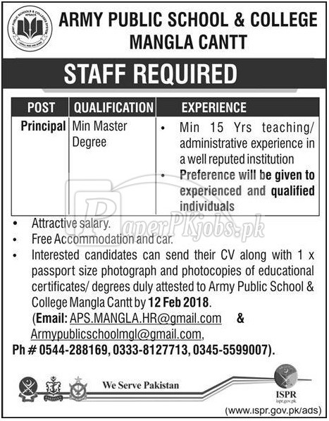 Army Public School & College Mangla Cantt Jobs 2018