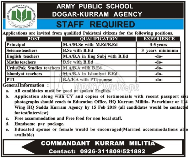 Army Public School Dogar Kurram Agency Jobs 2018