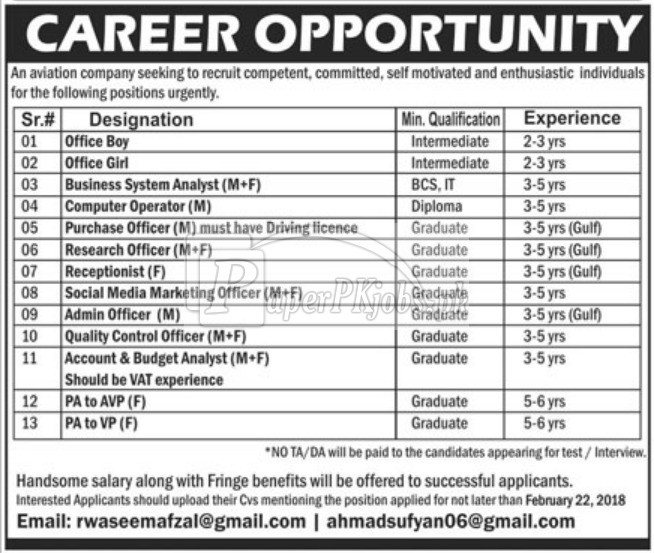 Aviation Company Jobs 2018