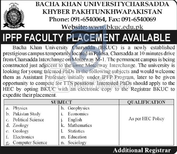 Bacha Khan University Charsadda KPK Jobs 2018