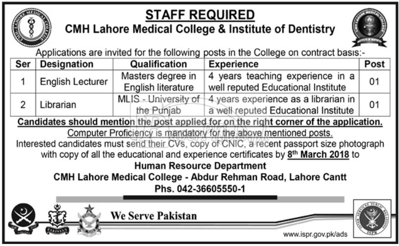 cmh lahore medical college  u0026 institute of dentistry jobs 2018