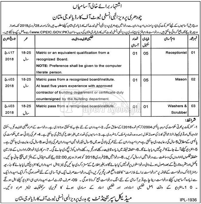 CPEIC Chaudhry Pervaiz Elahi Institute of Cardiology Multan Jobs 2018