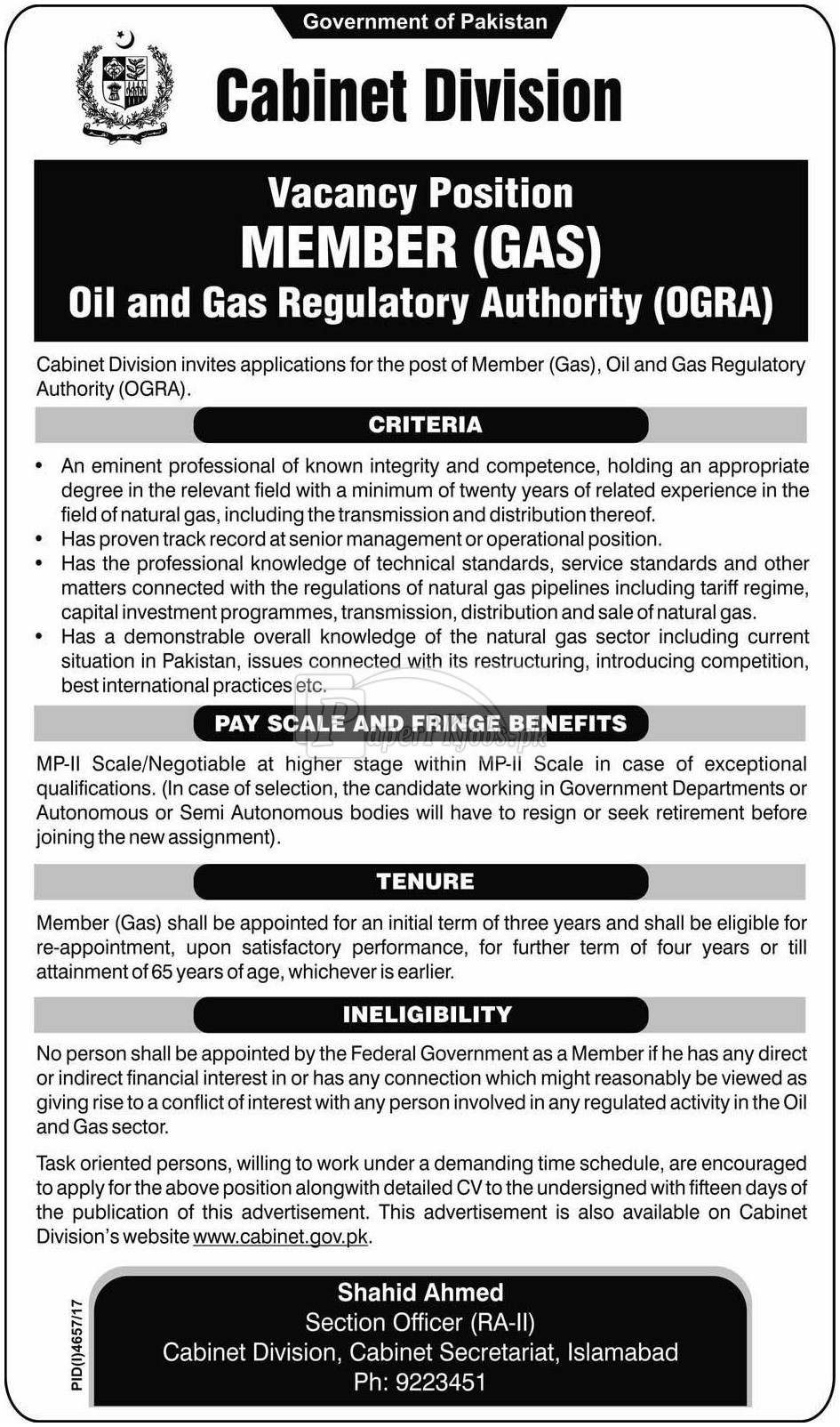 Cabinet Division Islamabad Jobs 2018