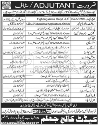 Cadet College Jhelum Jobs 2018