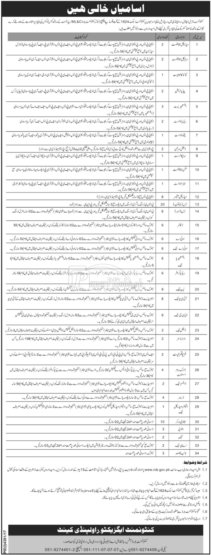 Cantonment General Hospital Rawalpindi Jobs 2018