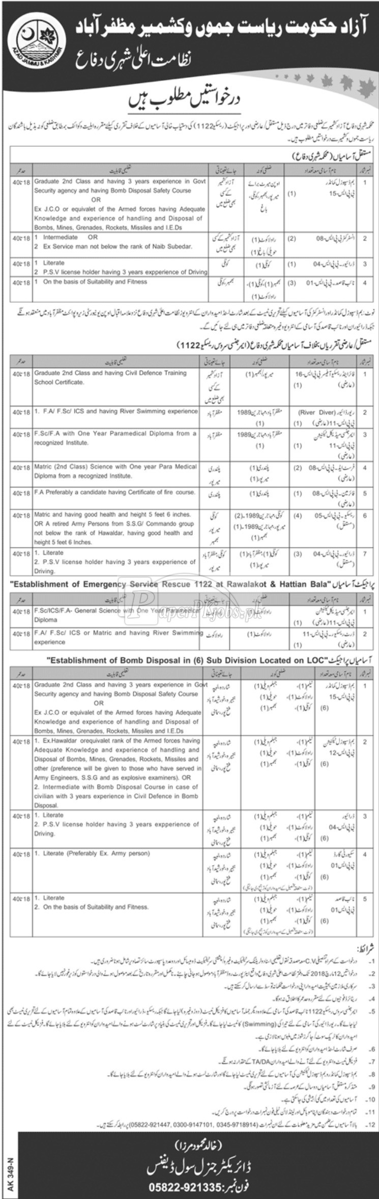 Civil Defence Department AJK Rescue 1122 Jobs 2018