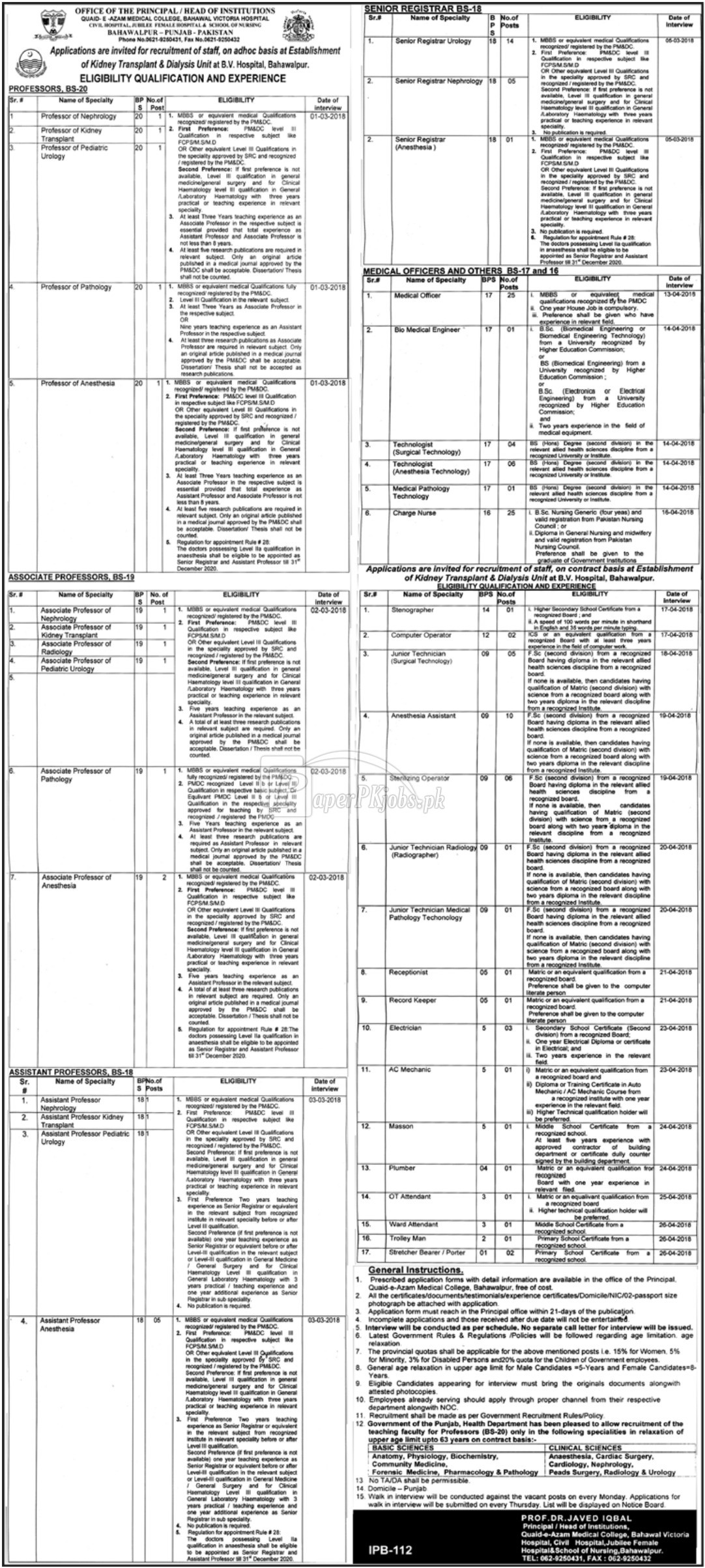 Civil Hospital Bahawalpur Jobs 2018