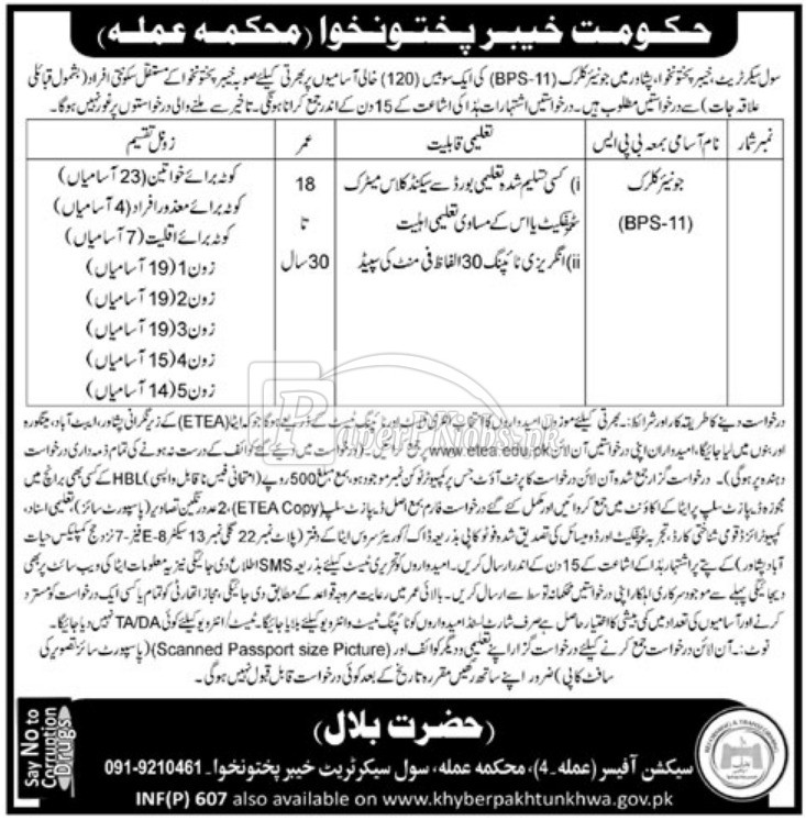 Civil Secretariat Peshawar KPK ETEA Jobs 2018