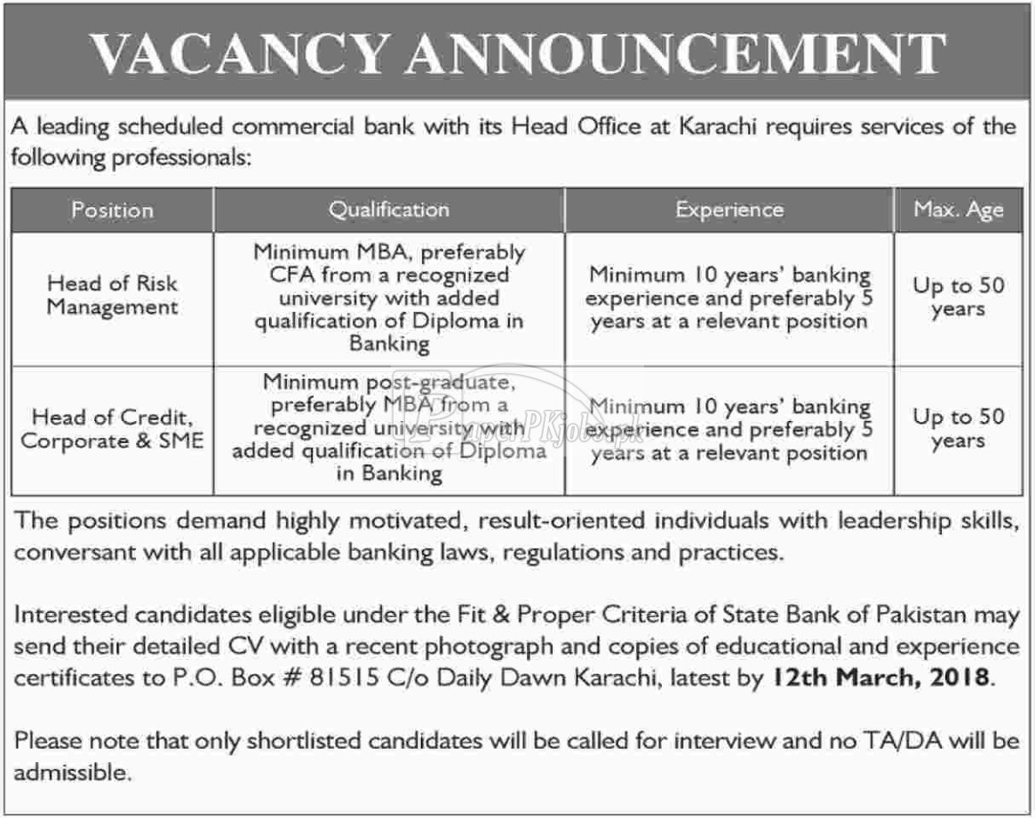 Commercial Bank Jobs 2018