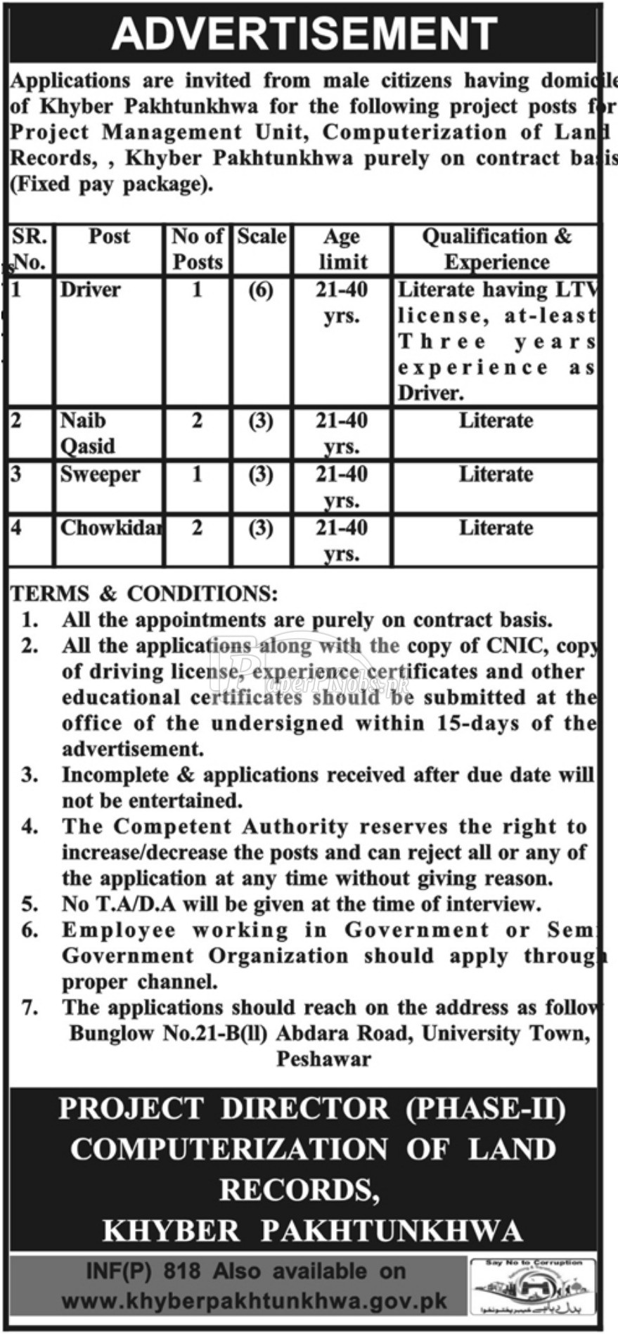Computerization of Land Record KPK Jobs 2018