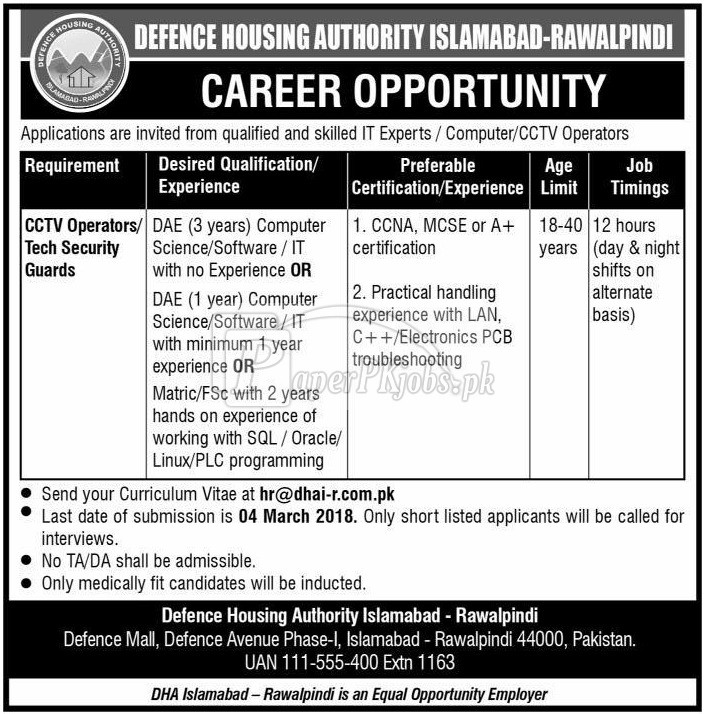 Defence Housing Authority Islamabad Rawalpindi Jobs 2018