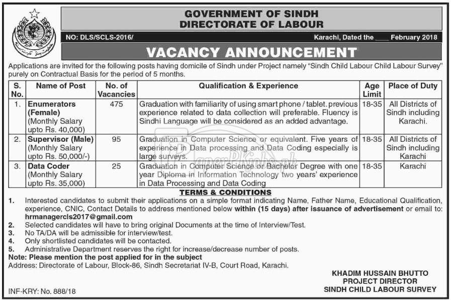 Directorate of Labour Government of Sindh Jobs 2018