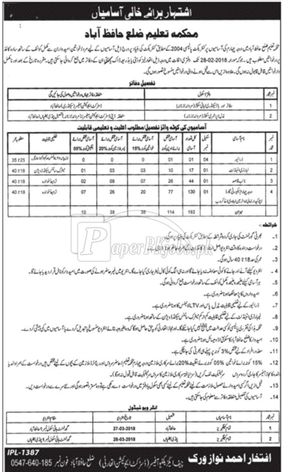 District Education Authority Hafizabad Jobs 2018