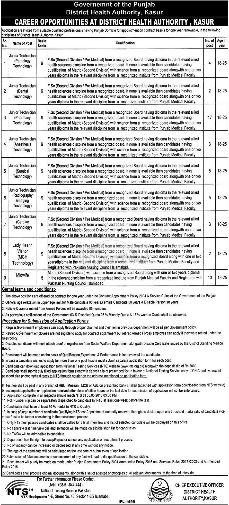District Health Authority Kasur NTS Jobs 2018