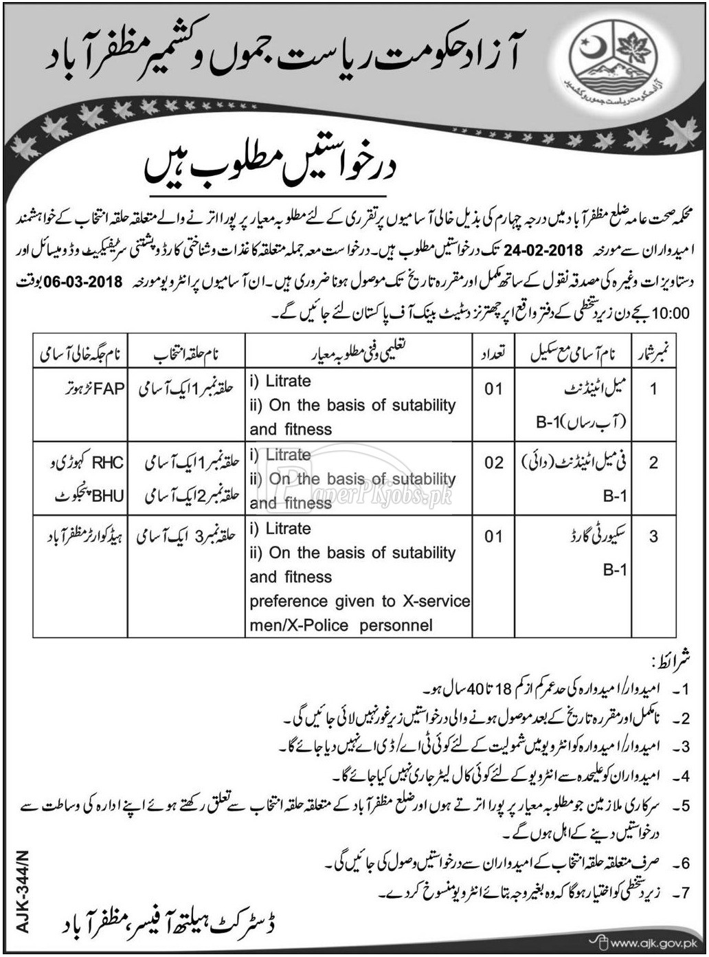 District Health Authority Muzaffarabad AJK Jobs 2018