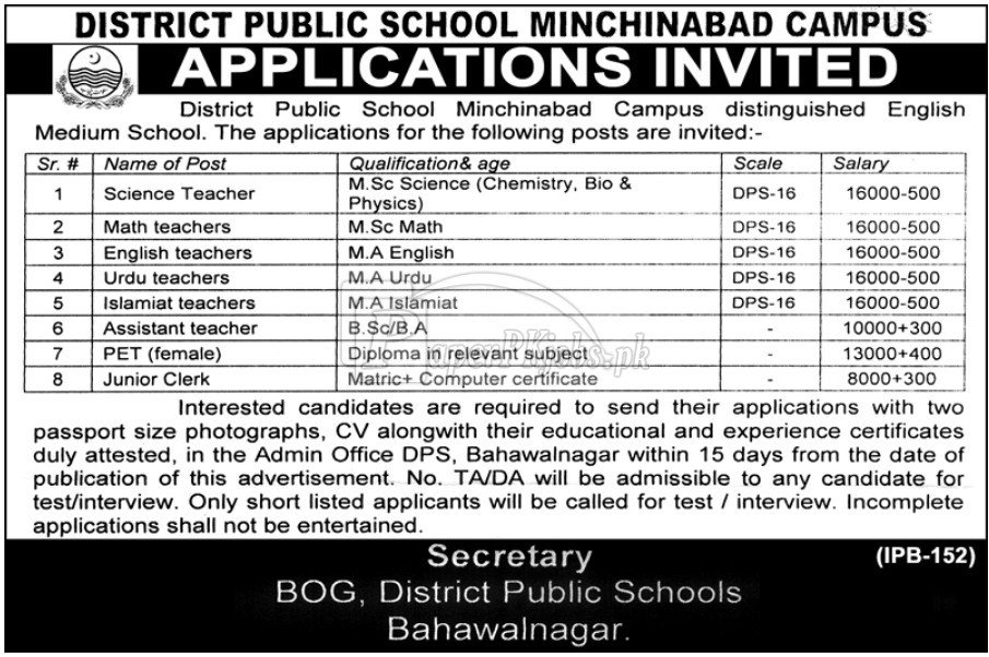 District Public School Minchinabad Bahawalnagar Jobs 2018