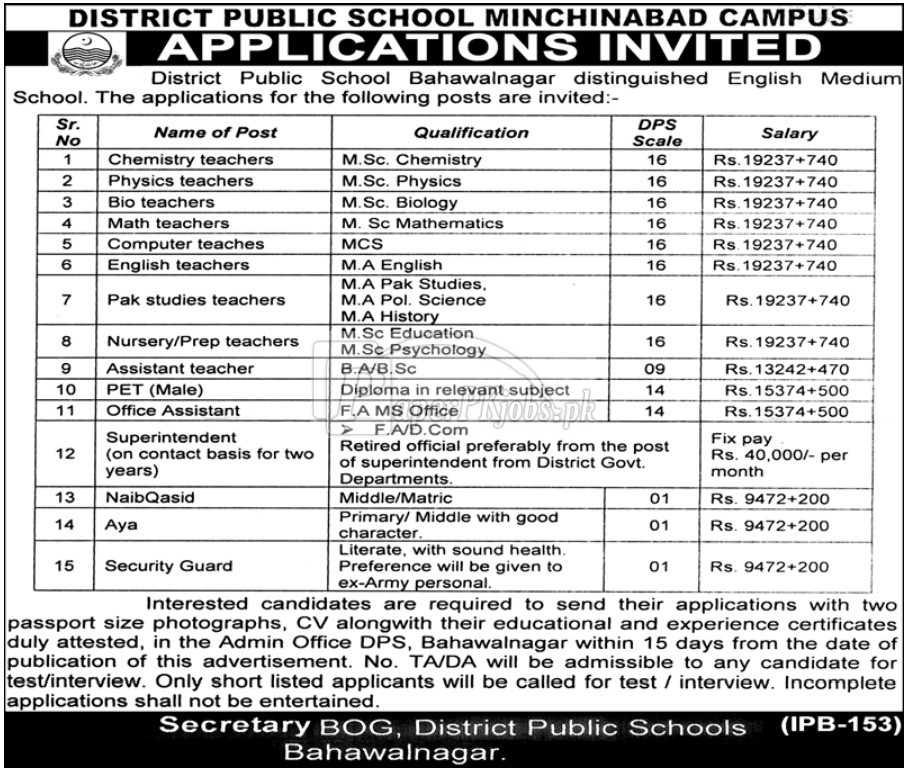 District Public School Minchinabad Bahawalnagar Jobs 2018(1)