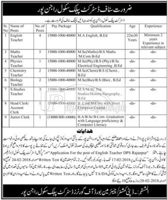 District Public School Rajanpur Jobs 2018