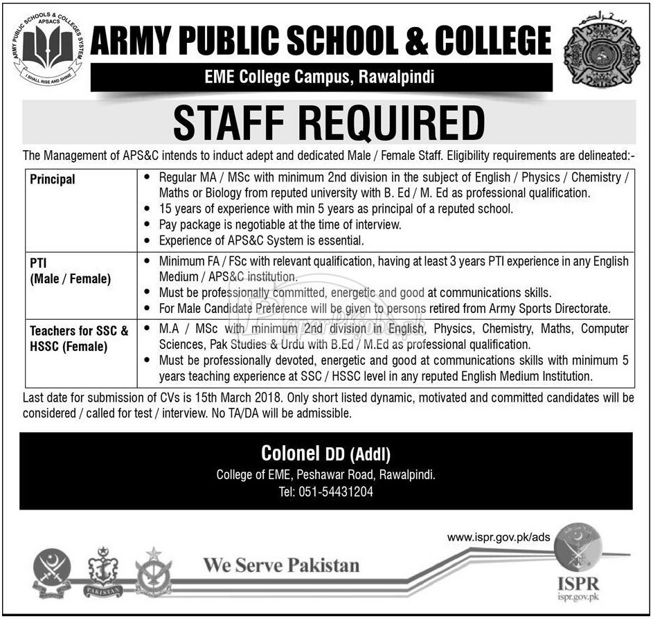 Army Public School & College Rawalpindi Jobs 2018