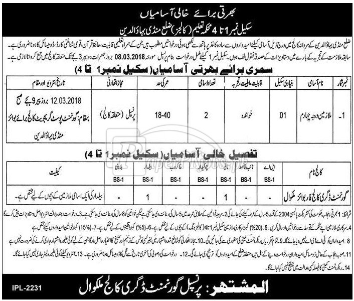 Education Department Colleges M.B.Din Jobs 2018