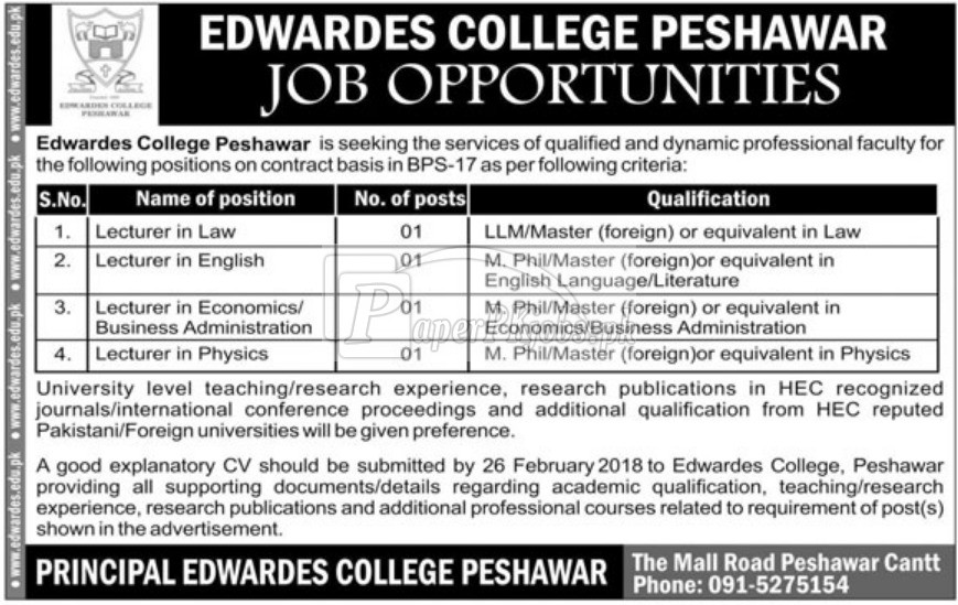 Edwardes College Peshawar Jobs 2018