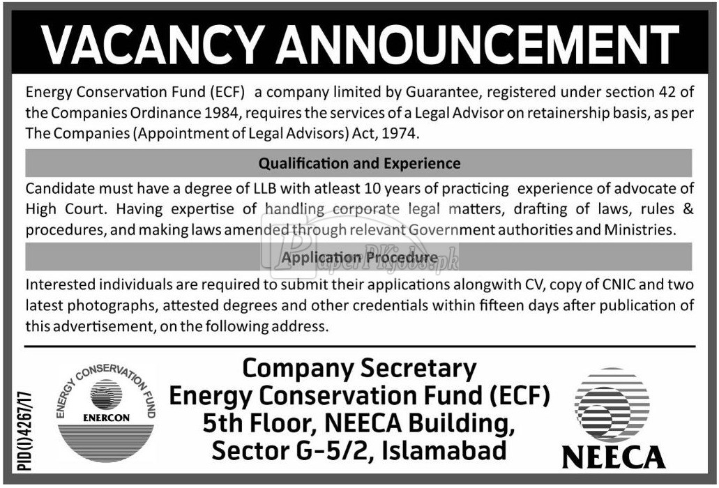 Energy Conservation Fund ECF Jobs 2018