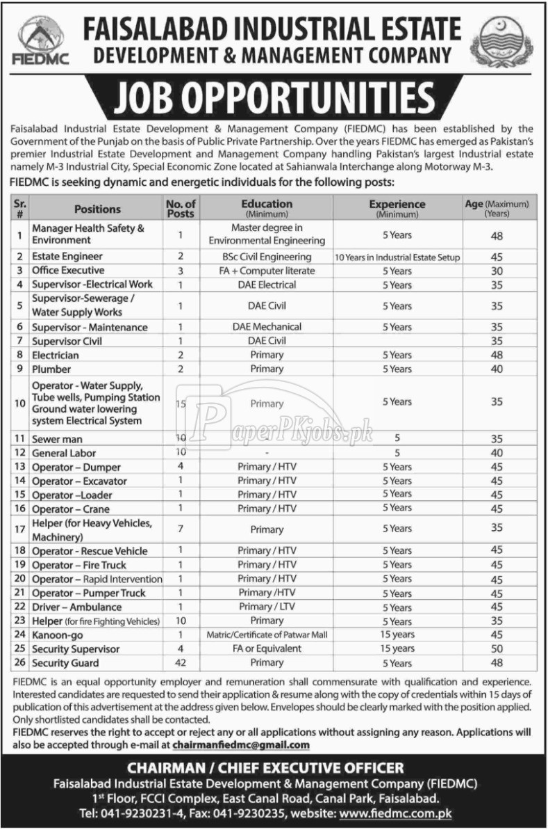 Faisalabad Industrial Estate Development & Management Company FIEDMC Jobs 2018