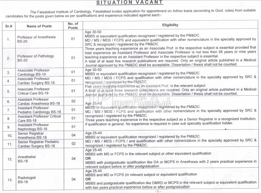 Faisalabad Institute of Cardiology Jobs 2018(1)