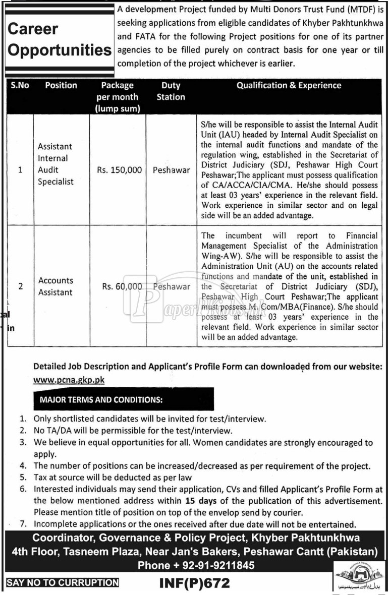 Governance & Policy Project Peshawar KPK Jobs 2018