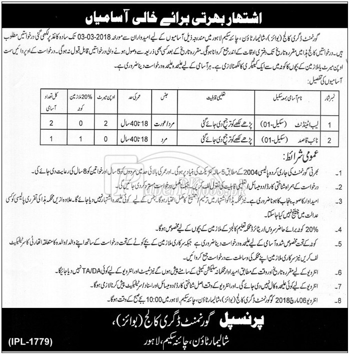 Government Degree College Boys Lahore Jobs 2018
