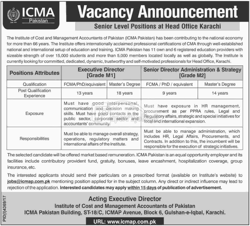 ICMA Pakistan Jobs 2018